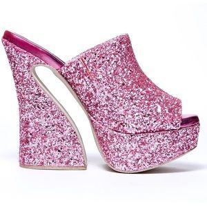 New Jeffrey Campbell Pink Glitter Dayana Heels